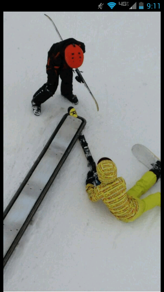 Ski Stuck In Rail Second Time