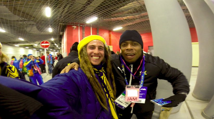 Henrik Harlaut with the Jamaican bobsled team.