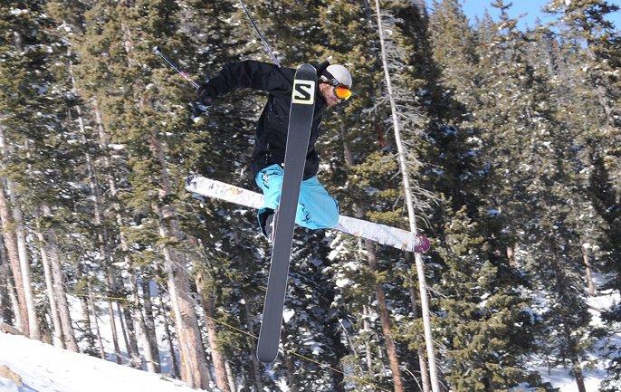 Doing skiing