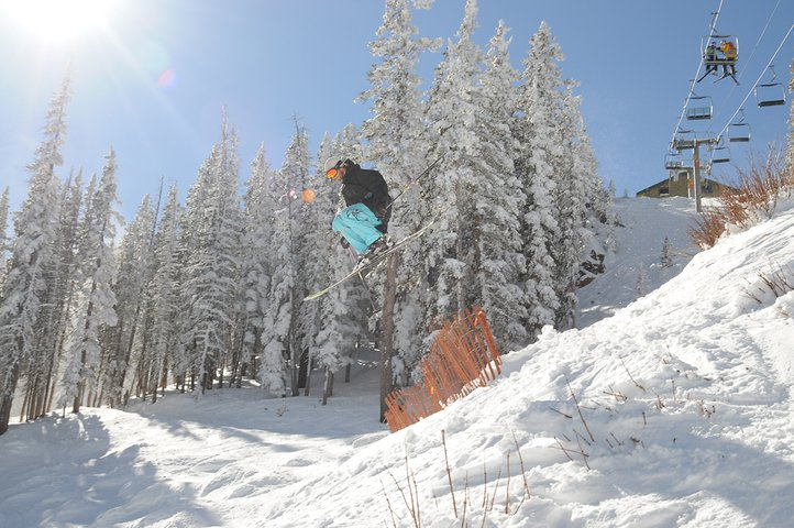 Jumping over snow fences