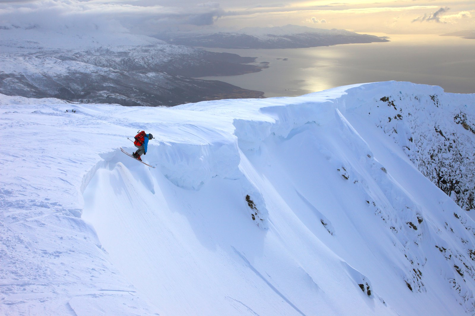 Dropping in over Norwegian fjords