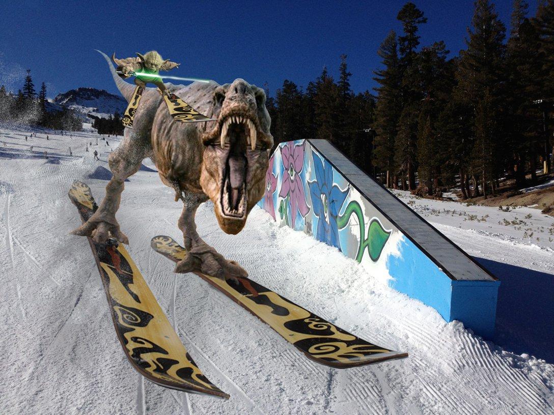 Yoda Grinding a Skiing trex
