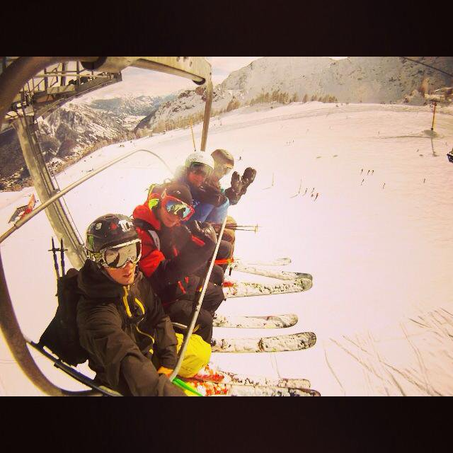 Friends on the lift