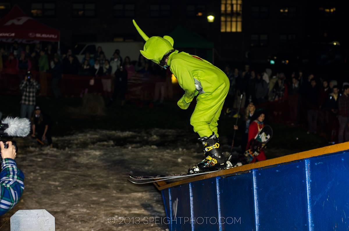 Teletubby on skis