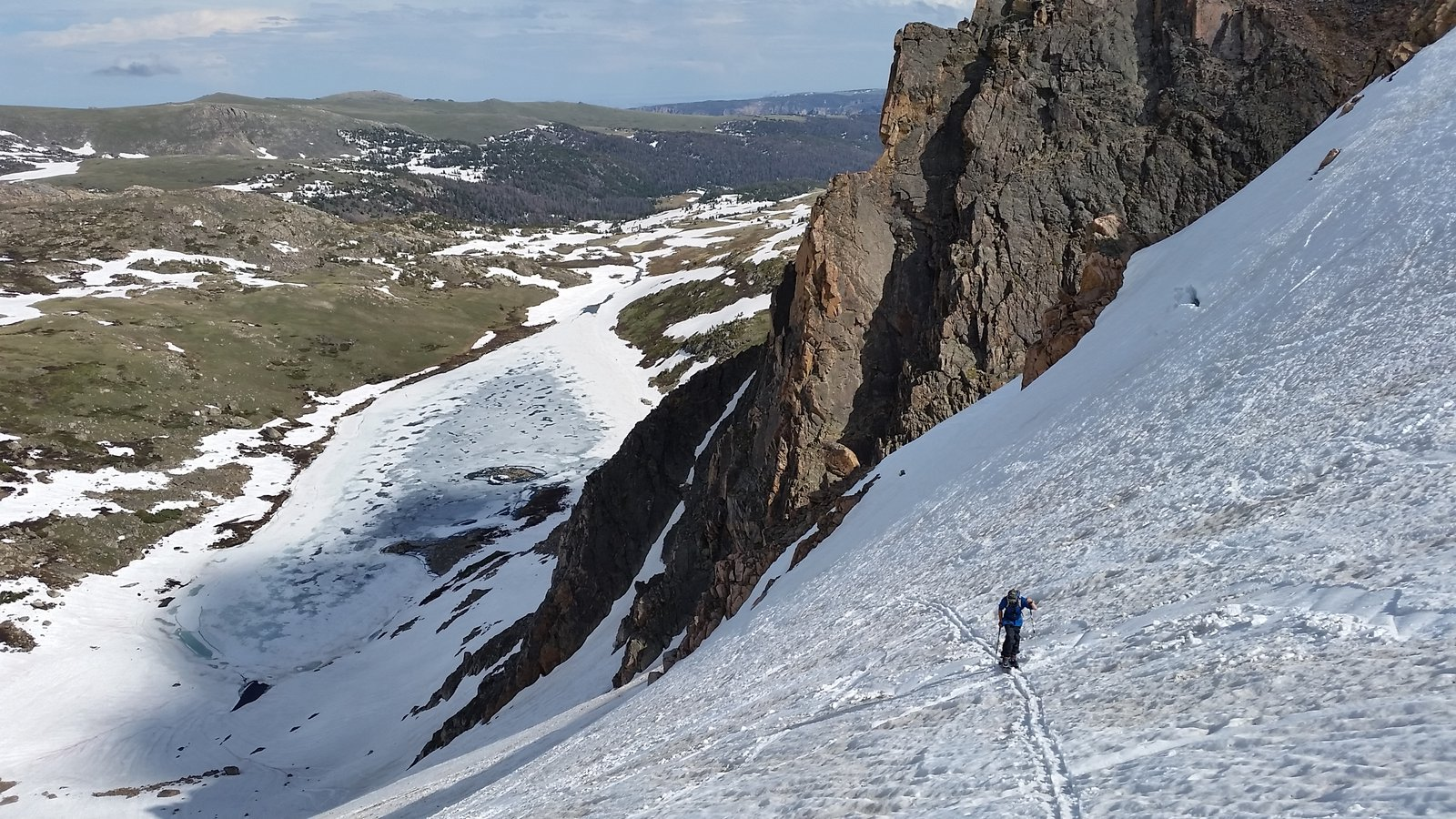 Skiing up the headwall