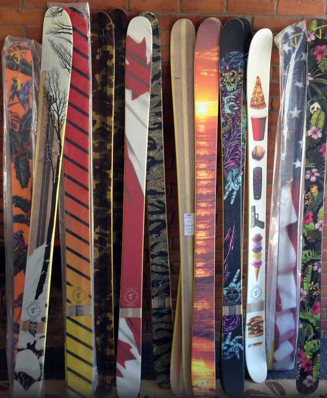 J skis on wall