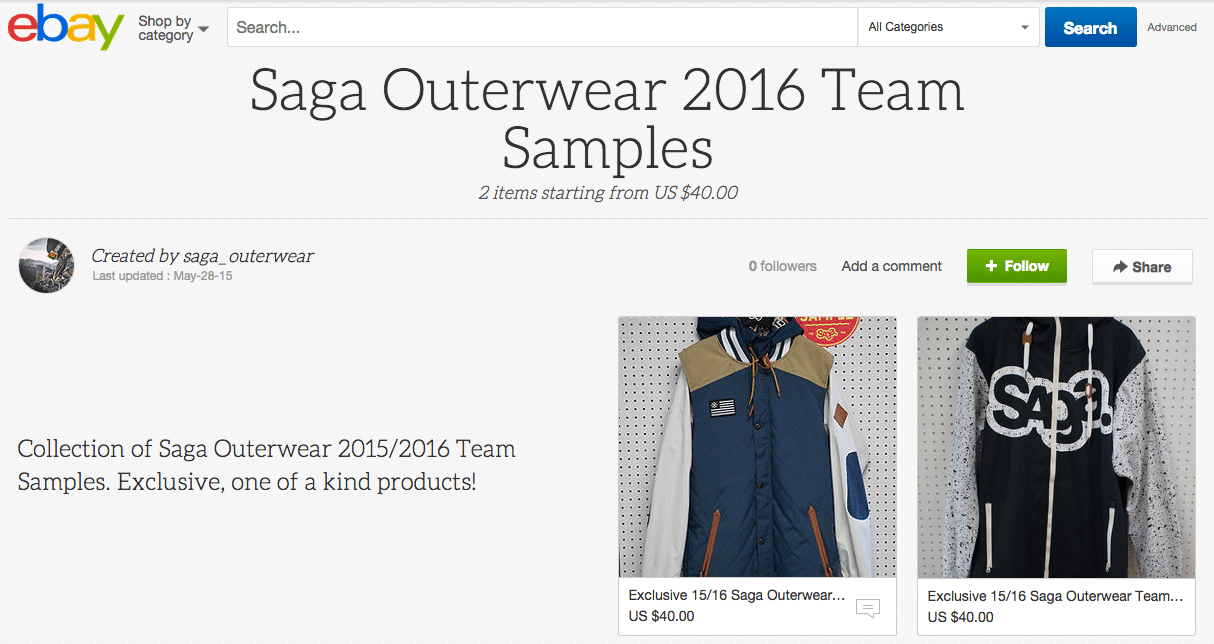 2016 Saga Outerwear Team Sample Sale