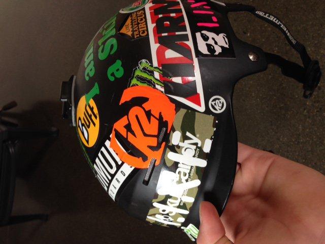 sticker'd helmet