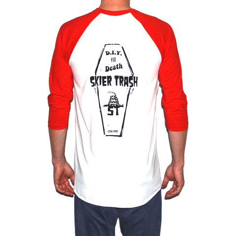 PRE-SALE ~ 20% OFF D.I.Y. TIL DEATH COFFIN RAGLAN TEE - WHITE/RED