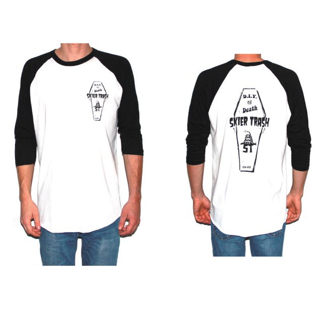 PRE-SALE ~ 20% OFF D.I.Y. TIL DEATH COFFIN RAGLAN TEE - WHITE/BLACK
