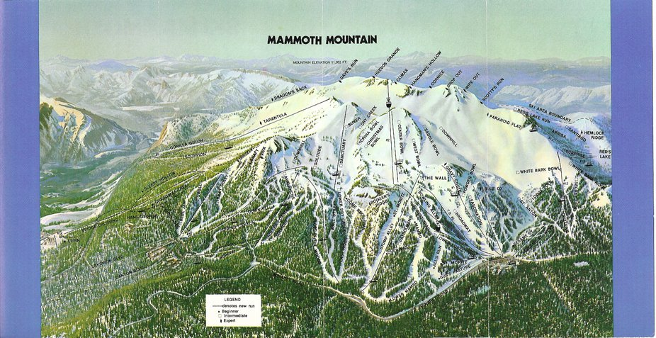 Trail maps then and now mammoth vail killington for Chair 23 mammoth
