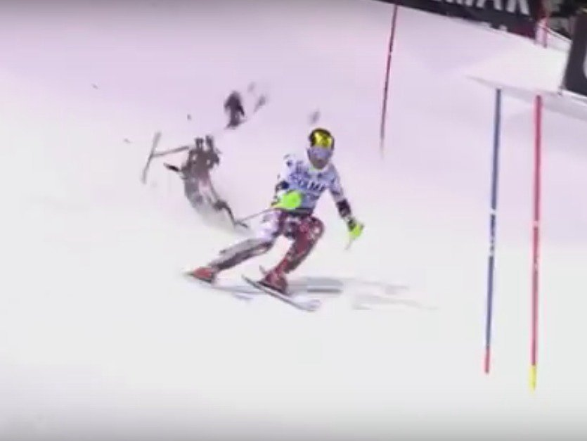 Crashing Drone Almost Wipes Out Ski Olympian