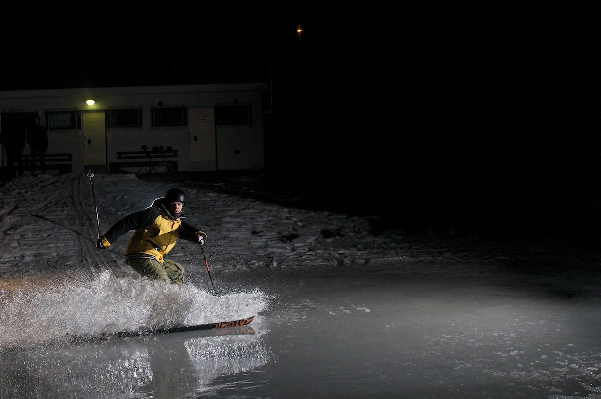 Water skiing in the winter