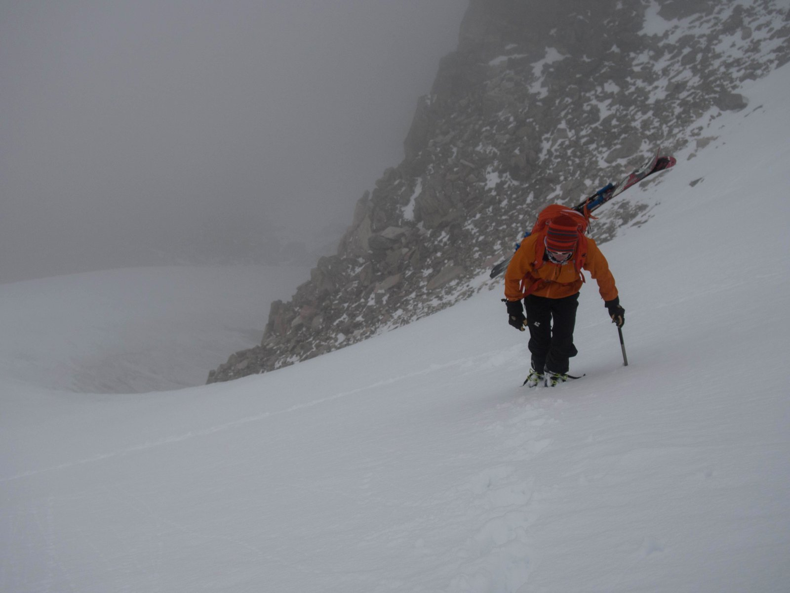 Heading up in the perpetual fog of The Sharkstooth