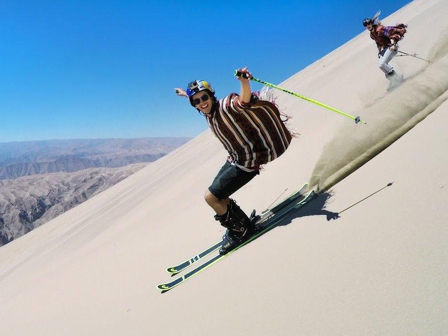Jesper Tjäder and Emma Dahlström Go Sand Skiing In Peru