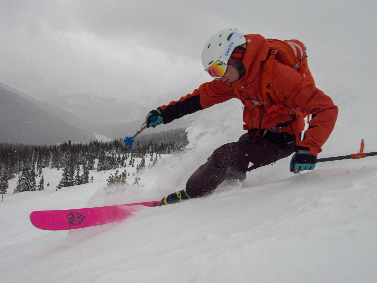 Nick laying one down on some of the new snow