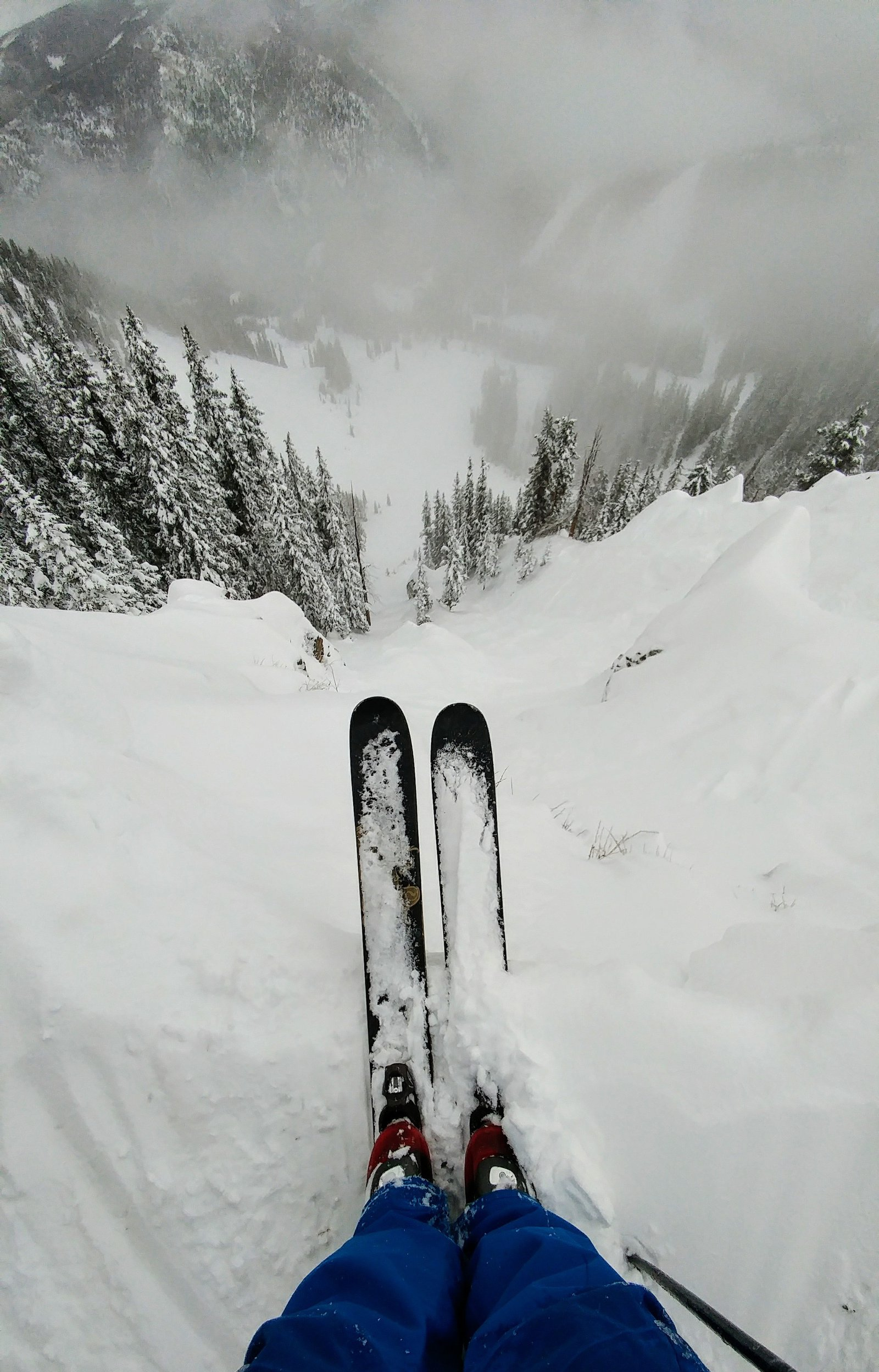 Staring down an untouched line at Taos Ski Valley