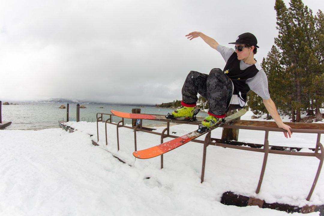 sliding by the beach, skier: C.Clayton