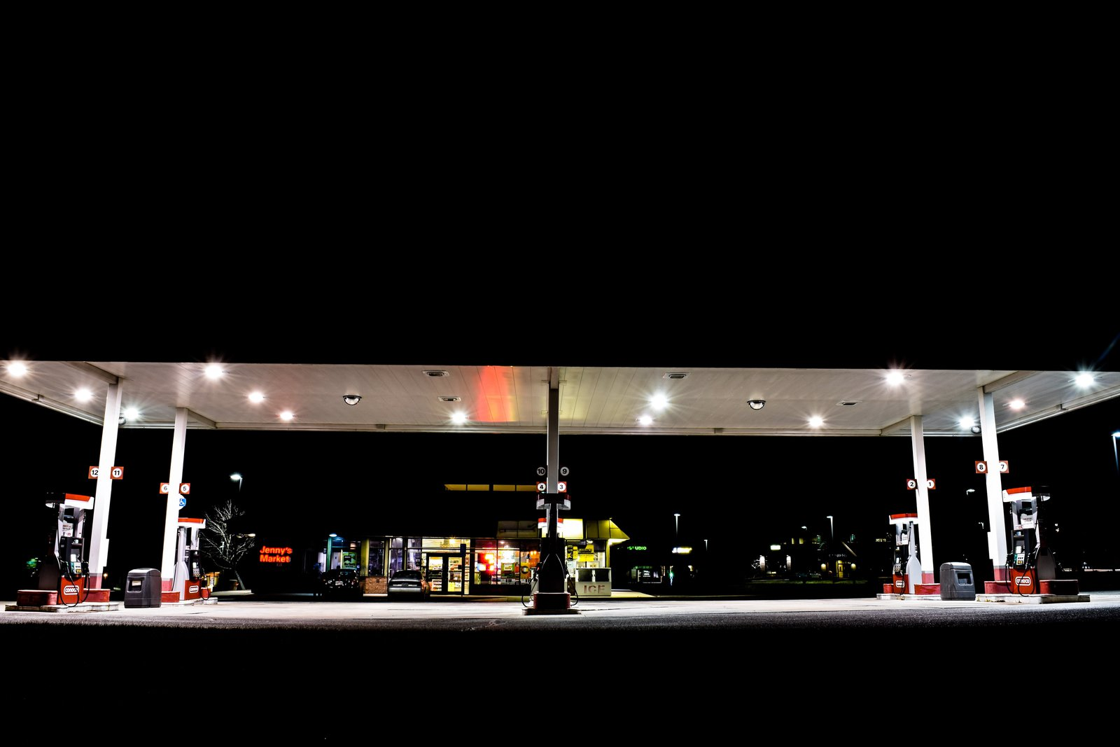 Night gas station