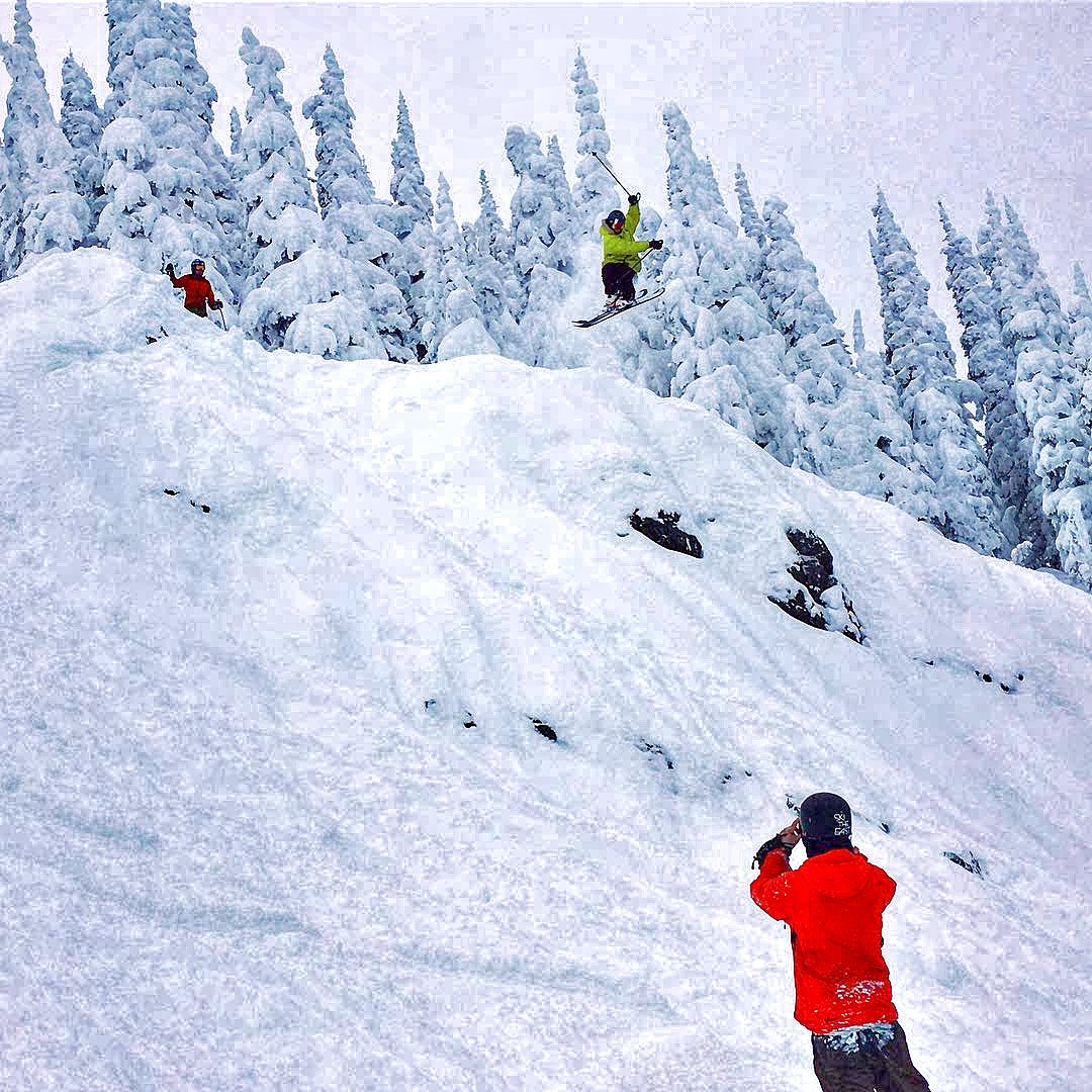 Haskill Slide Cliff Huck at Whitefish Mountain Resort