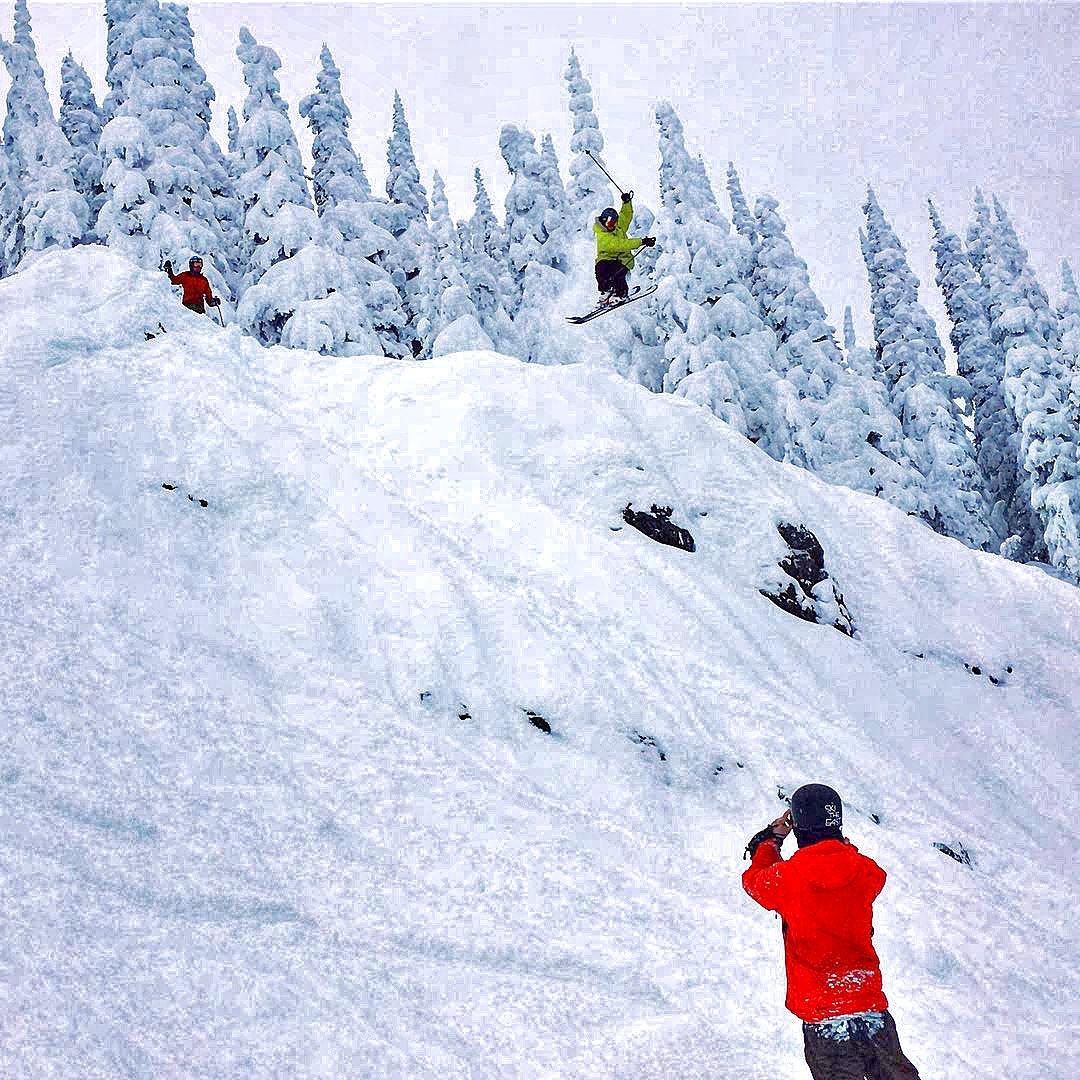Haskill Slide Cliff Huck at Whitefish Mountain Resort