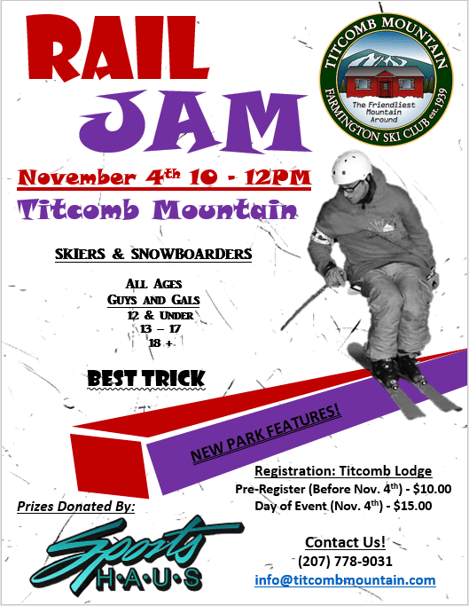 Titcomb Rail Jam NOVEMBER 4TH