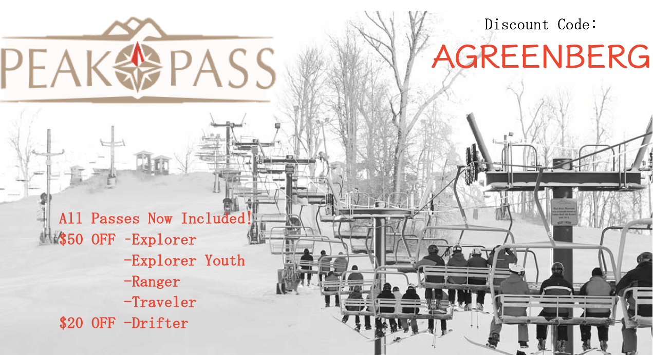 Peak Pass Discount Code: AGREENBERG for 2018/2019 Season!