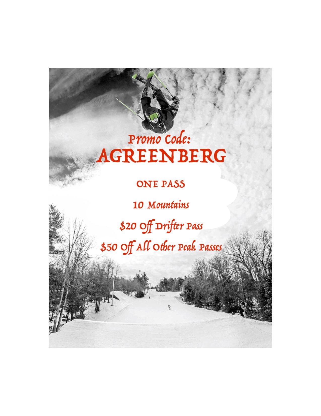 Promo Code For All Peak Passes! Use Code: AGREENBERG