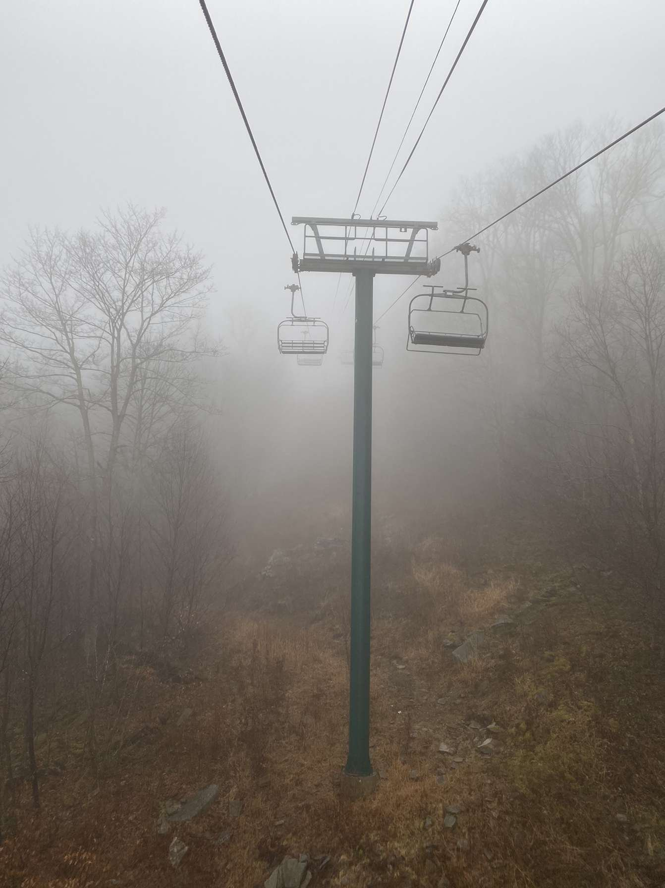 Foggy chairlift at Snowshoe Mountain, WV