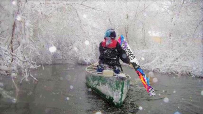 Powder Crazed Man Canoes in Freezing Cold Temps to Avoid Lines