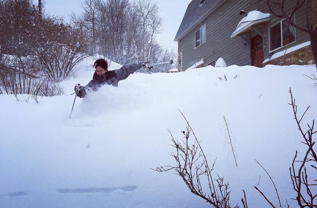 Skiing pow on the old backyard